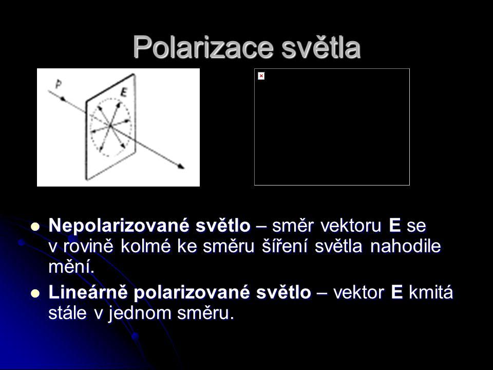 Polarizace světla Nepolarizované světlo – směr vektoru E se v rovině kolmé ke směru šíření světla nahodile mění. Nepolarizované světlo – směr vektoru