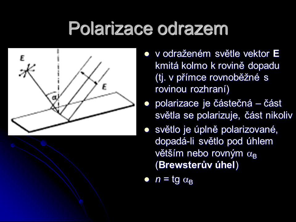 Polarizace odrazem v odraženém světle vektor E kmitá kolmo k rovině dopadu (tj. v přímce rovnoběžné s rovinou rozhraní) v odraženém světle vektor E km