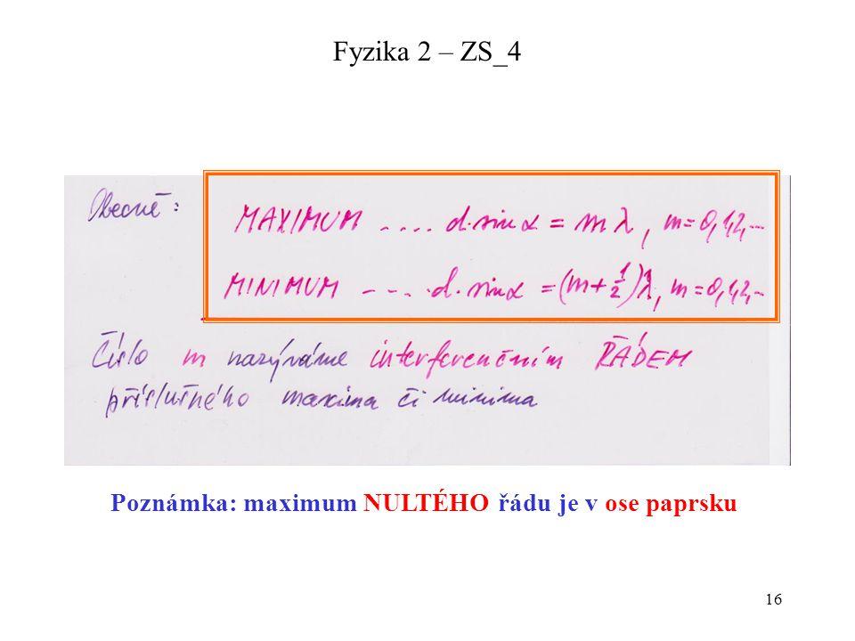 16 Fyzika 2 – ZS_4 Poznámka: maximum NULTÉHO řádu je v ose paprsku
