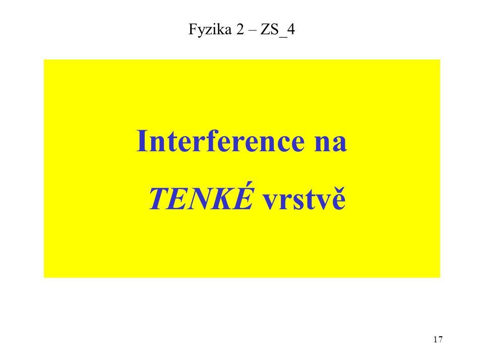 17 Fyzika 2 – ZS_4 Interference na TENKÉ vrstvě