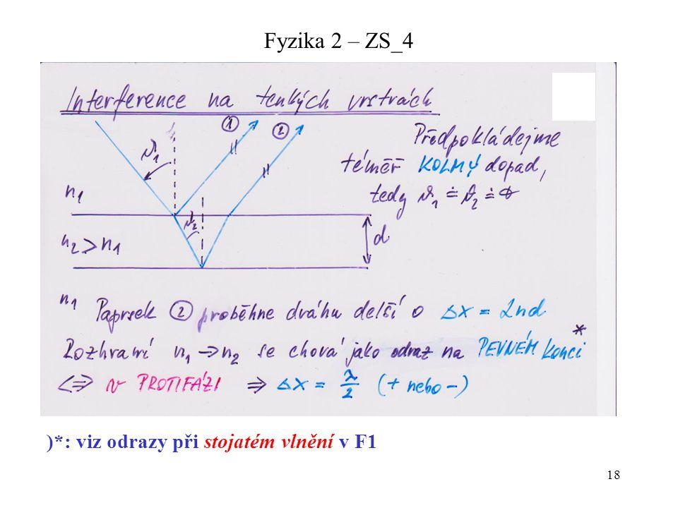18 Fyzika 2 – ZS_4 )*: viz odrazy při stojatém vlnění v F1