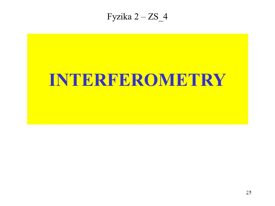 25 Fyzika 2 – ZS_4 INTERFEROMETRY