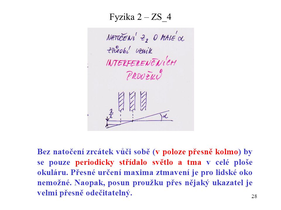 28 Fyzika 2 – ZS_4 Bez natočení zrcátek vůči sobě (v poloze přesně kolmo) by se pouze periodicky střídalo světlo a tma v celé ploše okuláru. Přesné ur