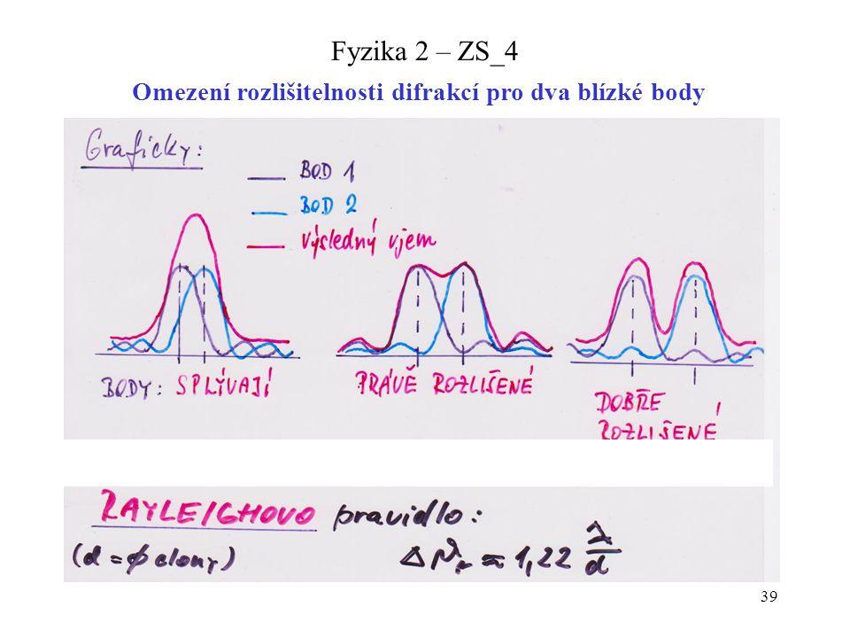 39 Fyzika 2 – ZS_4 Omezení rozlišitelnosti difrakcí pro dva blízké body