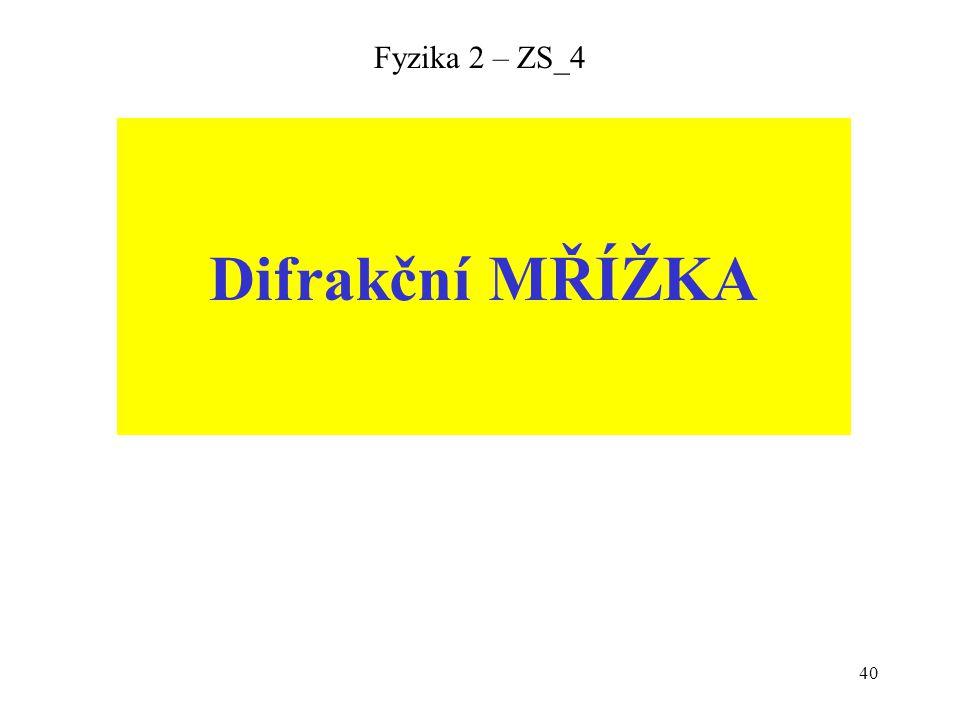 40 Fyzika 2 – ZS_4 Difrakční MŘÍŽKA