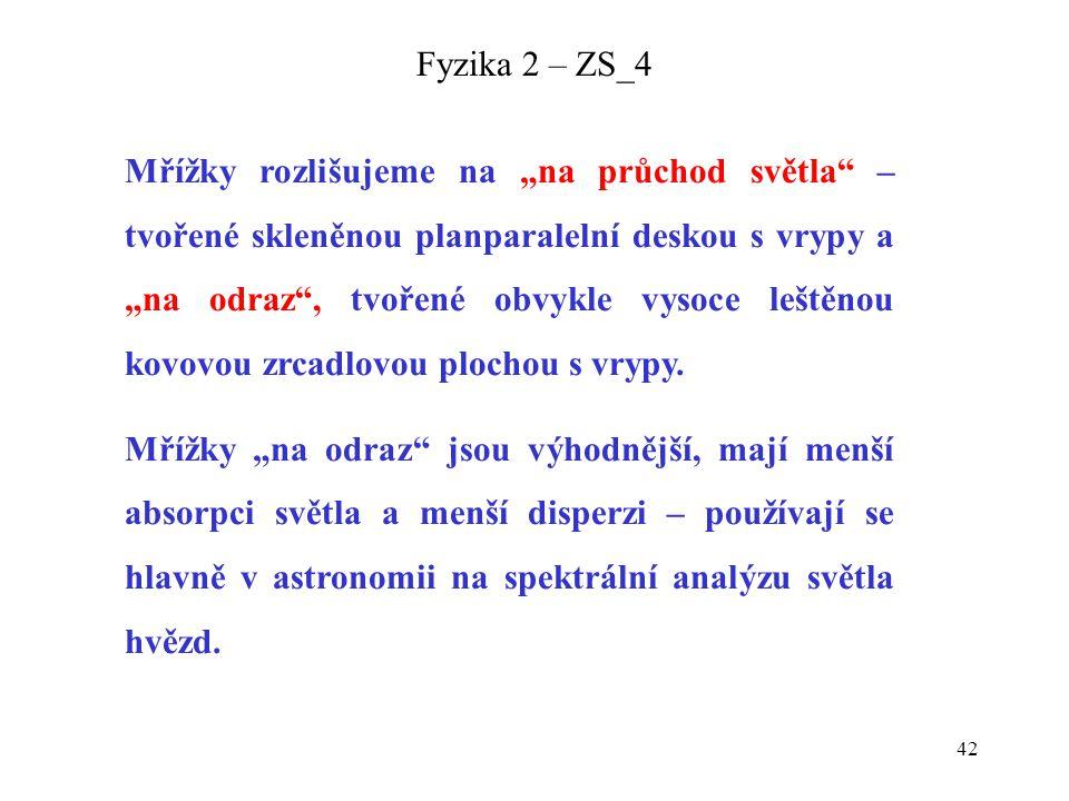 """42 Fyzika 2 – ZS_4 Mřížky rozlišujeme na """"na průchod světla"""" – tvořené skleněnou planparalelní deskou s vrypy a """"na odraz"""", tvořené obvykle vysoce leš"""