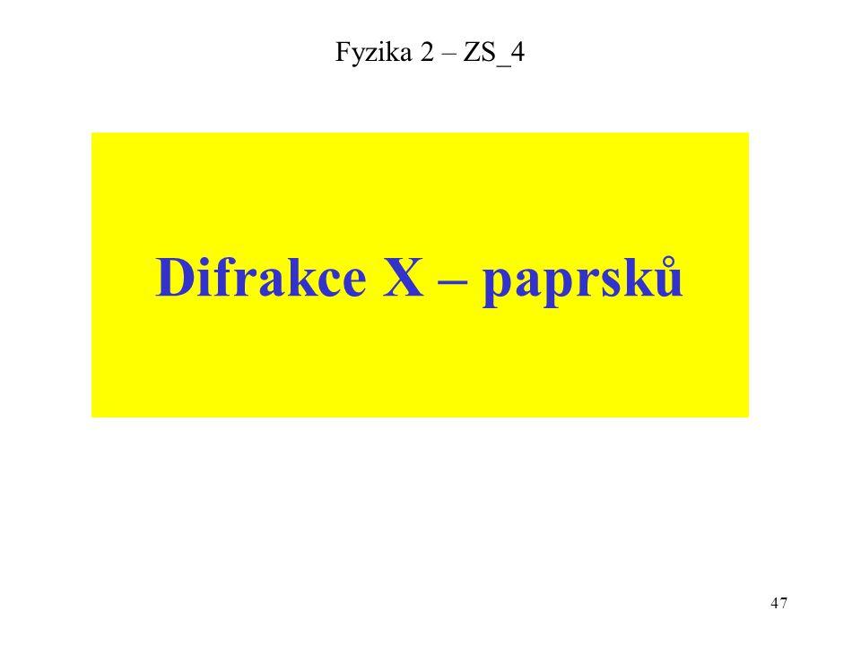 47 Fyzika 2 – ZS_4 Difrakce X – paprsků