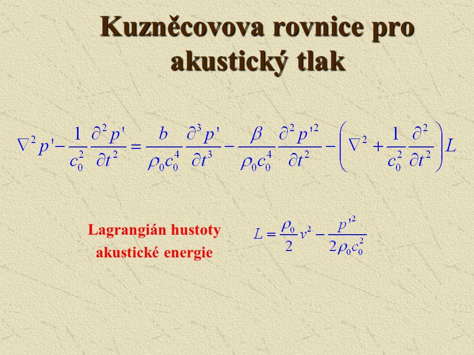 Předpoklady 1. Postupná vlna (kladný směr osy x) 2. Rovinná 3. Nelinearita a disipace zvukové energie způsobí jen pomalé změny v závislosti na prostor