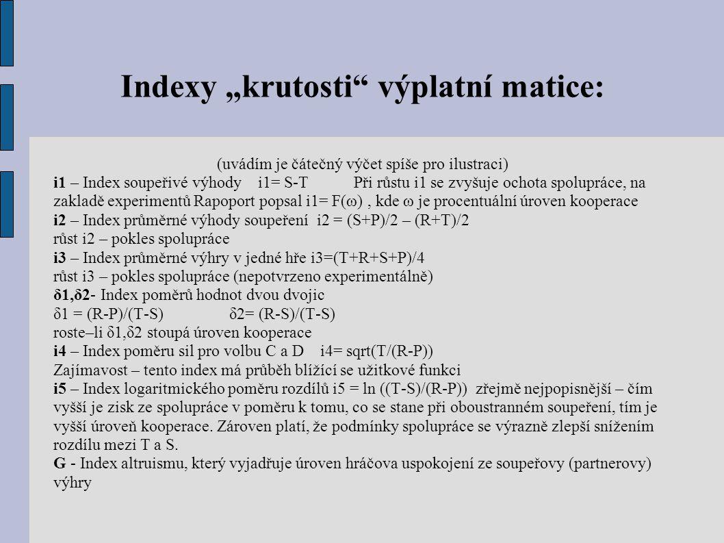 """Indexy """"krutosti"""" výplatní matice: (uvádím je čátečný výčet spíše pro ilustraci) i1 – Index soupeřivé výhody i1= S-T Při růstu i1 se zvyšuje ochota sp"""
