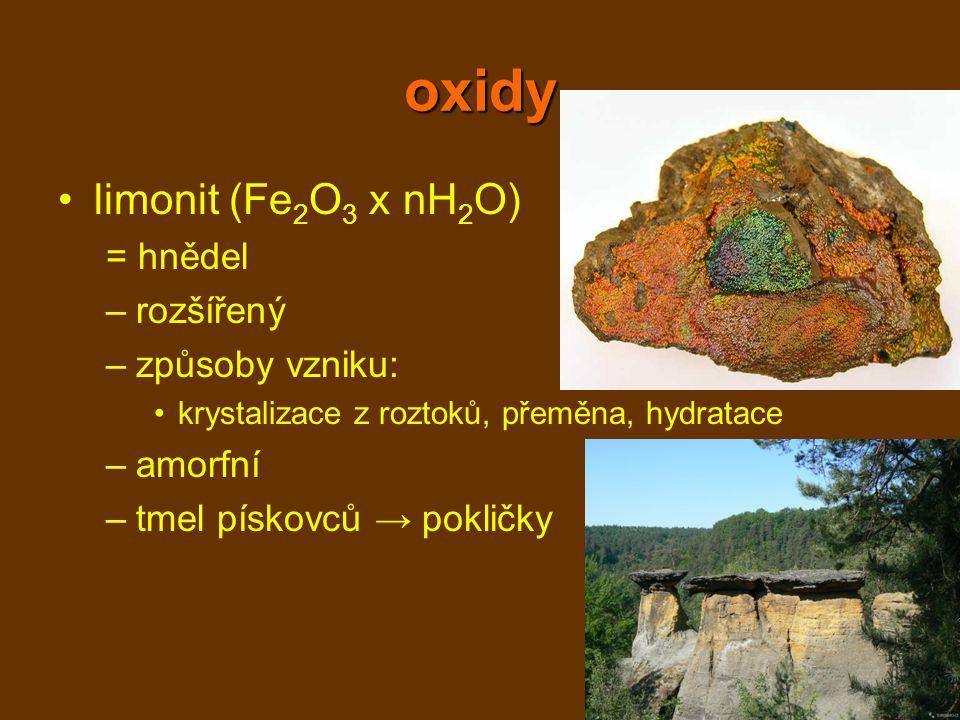 oxidy limonit (Fe 2 O 3 x nH 2 O) = hnědel –rozšířený –způsoby vzniku: krystalizace z roztoků, přeměna, hydratace –amorfní –tmel pískovců → pokličky