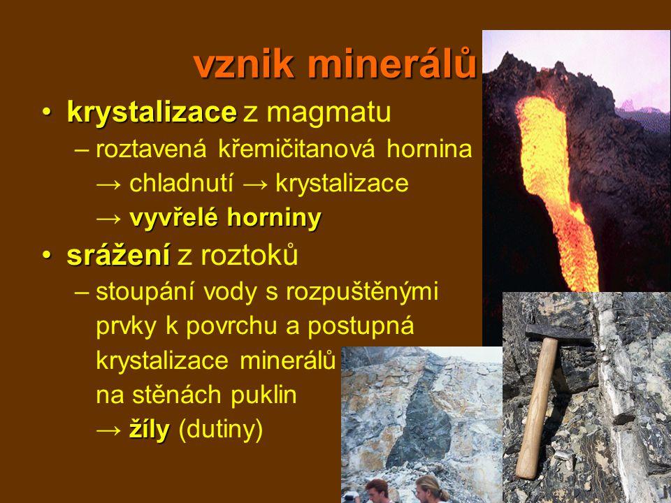 vznik minerálů krystalizacekrystalizace z magmatu –roztavená křemičitanová hornina → chladnutí → krystalizace vyvřelé horniny → vyvřelé horniny srážen