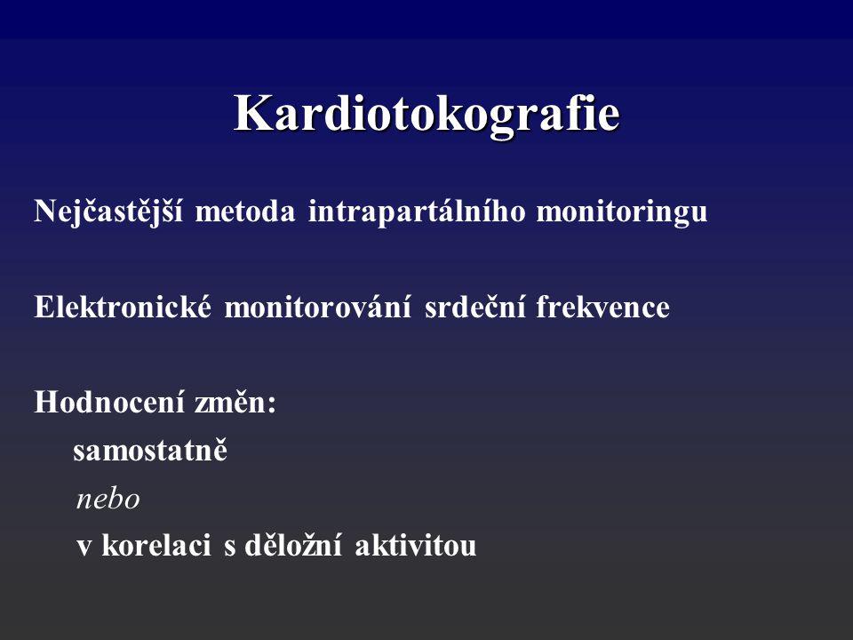Nejčastější metoda intrapartálního monitoringu Elektronické monitorování srdeční frekvence Hodnocení změn: samostatně nebo v korelaci s děložní aktivi