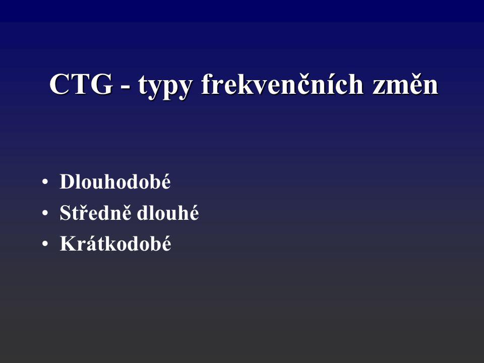 CTG - typy frekvenčních změn Dlouhodobé Středně dlouhé Krátkodobé