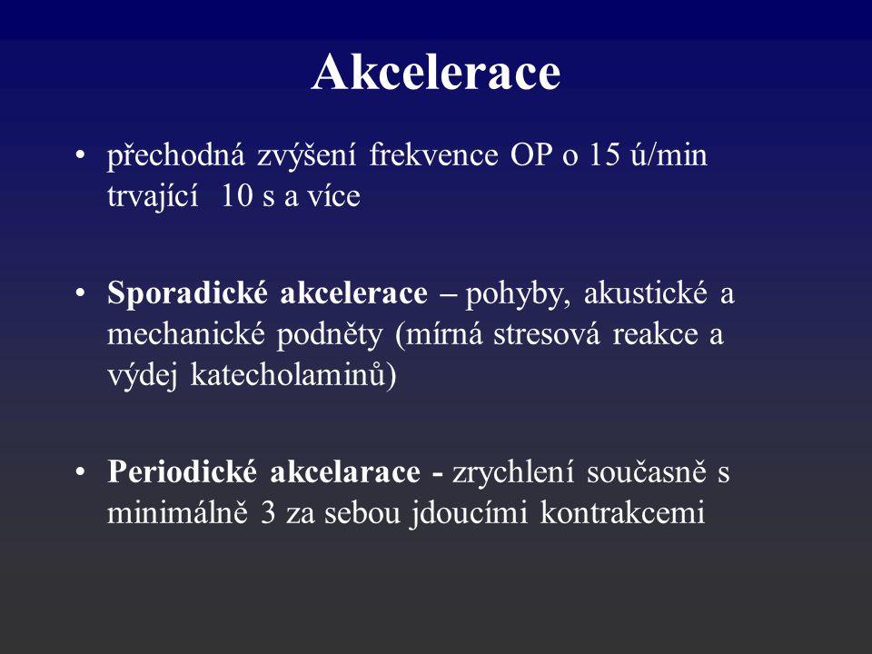 Akcelerace přechodná zvýšení frekvence OP o 15 ú/min trvající 10 s a více Sporadické akcelerace – pohyby, akustické a mechanické podněty (mírná streso