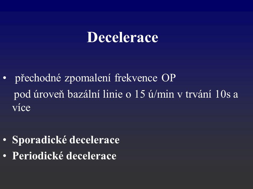 přechodné zpomalení frekvence OP pod úroveň bazální linie o 15 ú/min v trvání 10s a více Sporadické decelerace Periodické decelerace Decelerace