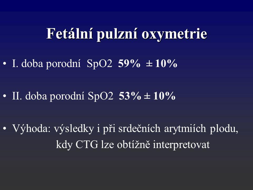 I. doba porodní SpO2 59% ± 10% II. doba porodní SpO2 53% ± 10% Výhoda: výsledky i při srdečních arytmiích plodu, kdy CTG lze obtížně interpretovat Fet