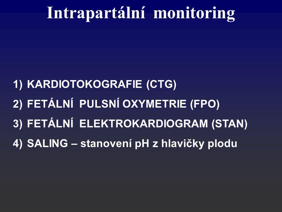 1)KARDIOTOKOGRAFIE (CTG) 2)FETÁLNÍ PULSNÍ OXYMETRIE (FPO) 3)FETÁLNÍ ELEKTROKARDIOGRAM (STAN) 4)SALING – stanovení pH z hlavičky plodu Intrapartální mo
