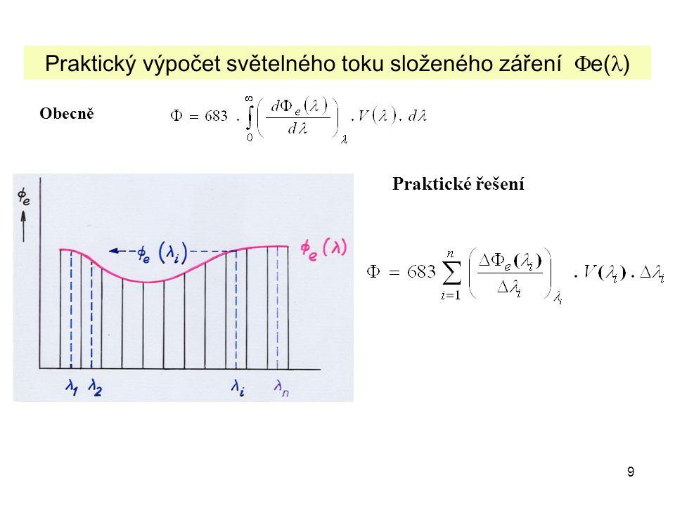 9 Praktický výpočet světelného toku složeného záření  e( ) Obecně Praktické řešení