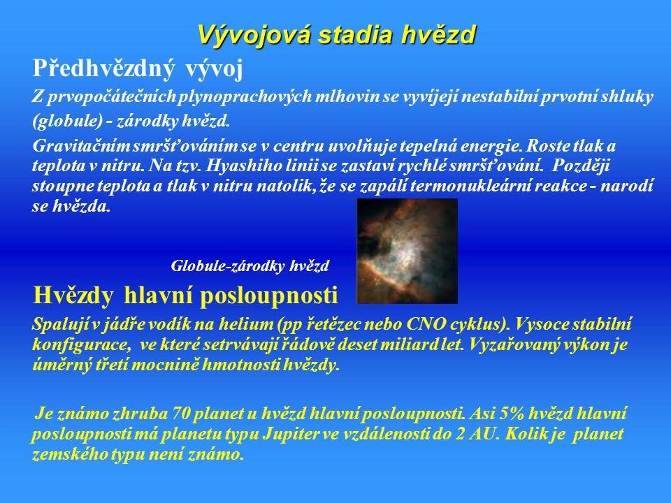 """Vznik a vývoj hvězd -Hertzsprungův – Russellův diagram hvězdy v závislosti na jejich absolutní hvězdné velikosti ( zářivém výkonu) a na spektrálním typu( na teplotě) 1 – 3 smršťování oblaku, zvyšování teploty 3 zapálení TJ reakcí, """"pobyt na hlavní posloupnosti 3-4 dohoření H v jádře 4-5 smršťování jádra, zvyšování teploty 5 zapálení H ve slupce kolem jádra 5-6 hoření H ve slupce, zvyšování hmotnosti He jádra 6 zapáleni He v jádře, červený, žlutý oranžový obr 6-7 rozpínání a chladnutí obalu -> únik hmoty 7 dohoření He v jádře, smršťování jádra, zapálení He v obálce,..."""