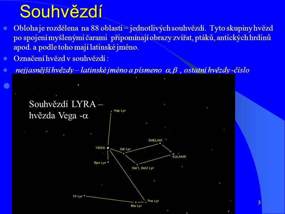2 Hvězdná obloha Hvězdná obloha Pro pozorovatele na Zemi se obloha jeví jako kulová plocha velikého poloměru, v jejímž středu je Země.