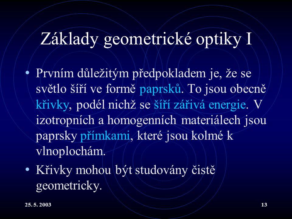 25. 5. 200313 Základy geometrické optiky I Prvním důležitým předpokladem je, že se světlo šíří ve formě paprsků. To jsou obecně křivky, podél nichž se