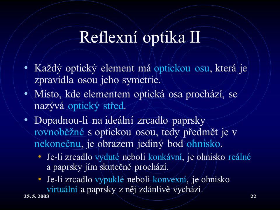 25. 5. 200322 Reflexní optika II Každý optický element má optickou osu, která je zpravidla osou jeho symetrie. Místo, kde elementem optická osa prochá