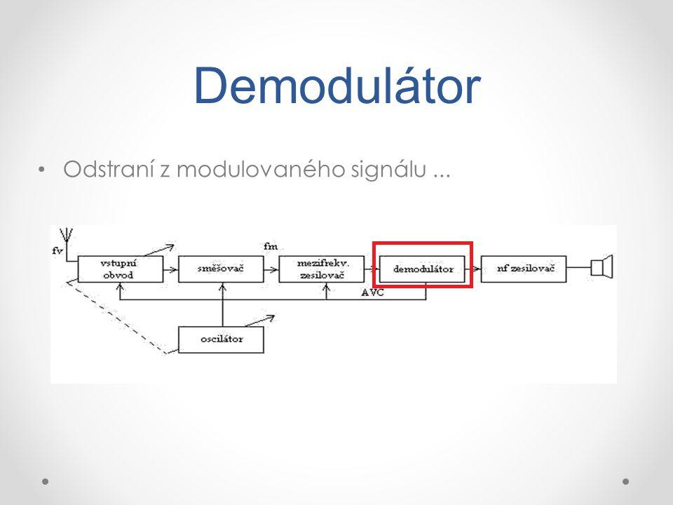 Demodulátor Odstraní z modulovaného signálu...