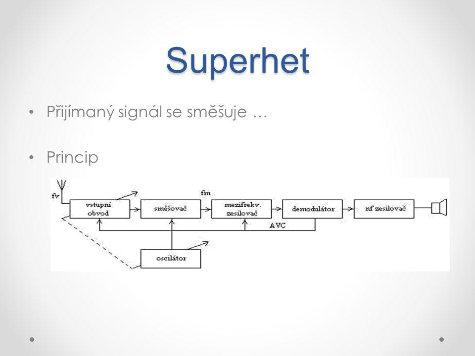 Superhet Přijímaný signál se směšuje … Princip