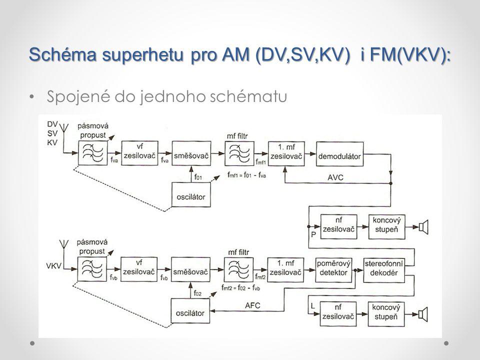 Schéma superhetu pro AM (DV,SV,KV) i FM(VKV): Spojené do jednoho schématu