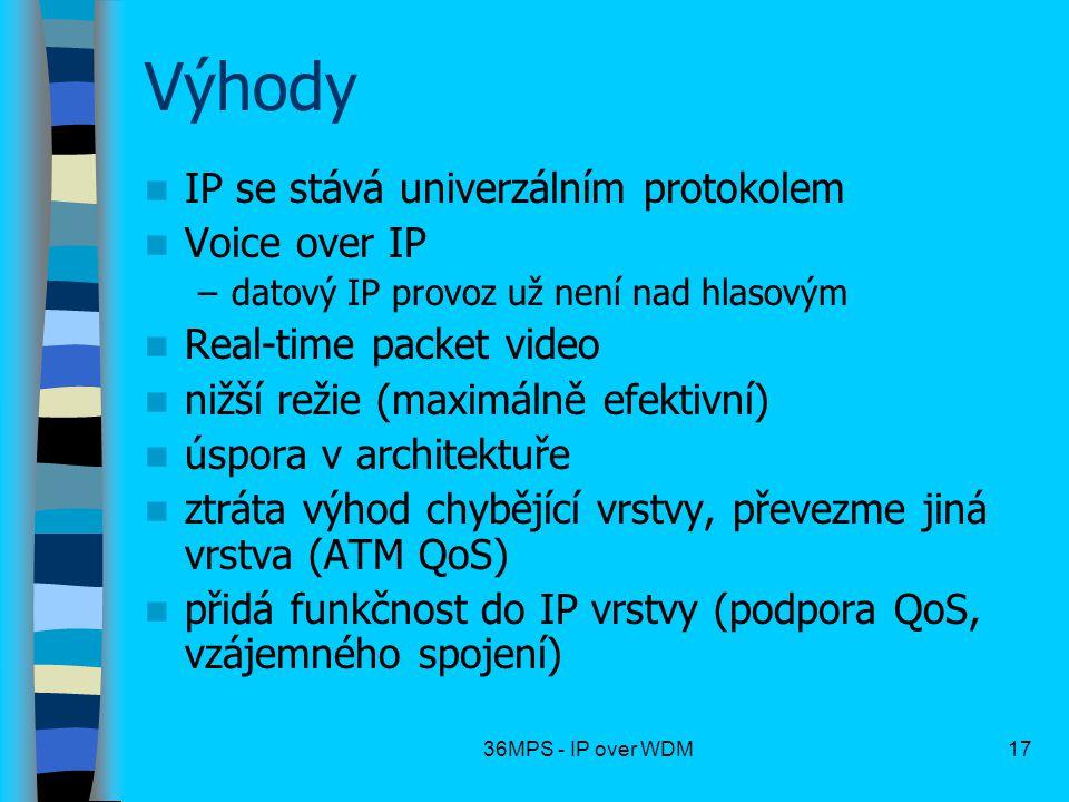 36MPS - IP over WDM17 Výhody IP se stává univerzálním protokolem Voice over IP –datový IP provoz už není nad hlasovým Real-time packet video nižší rež