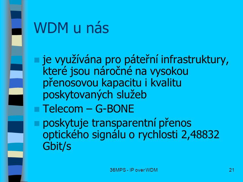 36MPS - IP over WDM21 WDM u nás je využívána pro páteřní infrastruktury, které jsou náročné na vysokou přenosovou kapacitu i kvalitu poskytovaných slu