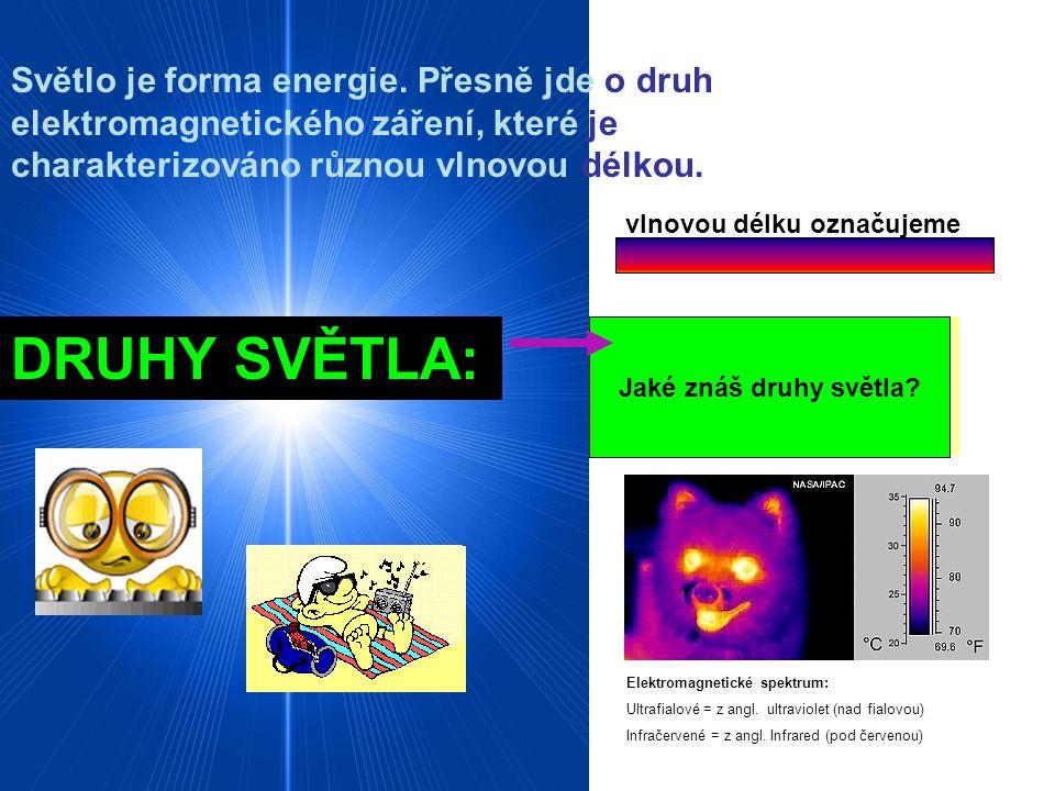 Světlo je forma energie. Přesně jde o druh elektromagnetického záření, které je charakterizováno různou vlnovou délkou. vlnovou délku označujeme řecký