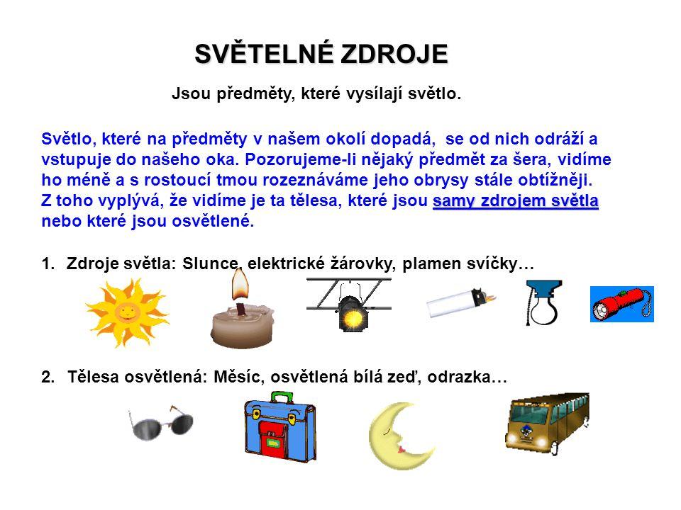 SVĚTELNÉ ZDROJE Jsou předměty, které vysílají světlo. samy zdrojem světla Světlo, které na předměty v našem okolí dopadá, se od nich odráží a vstupuje