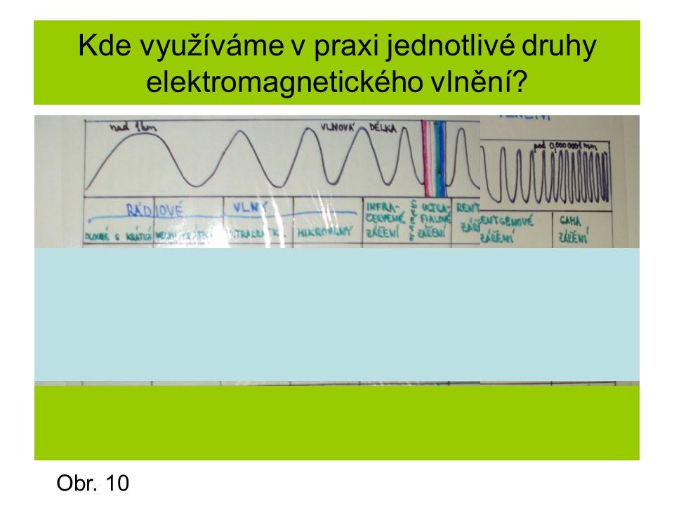 Kde využíváme v praxi jednotlivé druhy elektromagnetického vlnění? Obr. 10