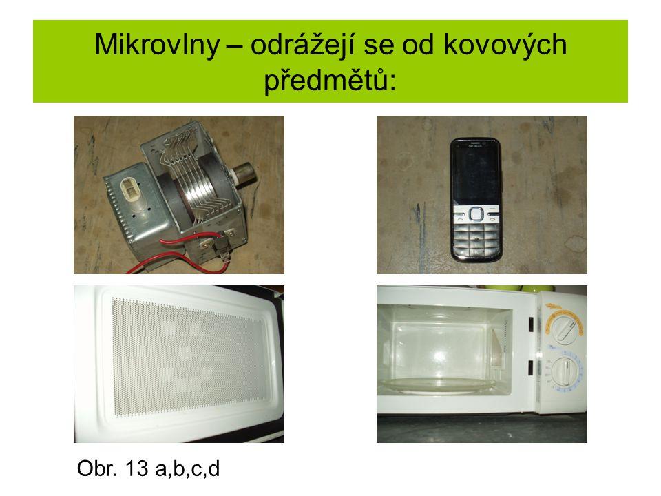 Mikrovlny – odrážejí se od kovových předmětů: Obr. 13 a,b,c,d