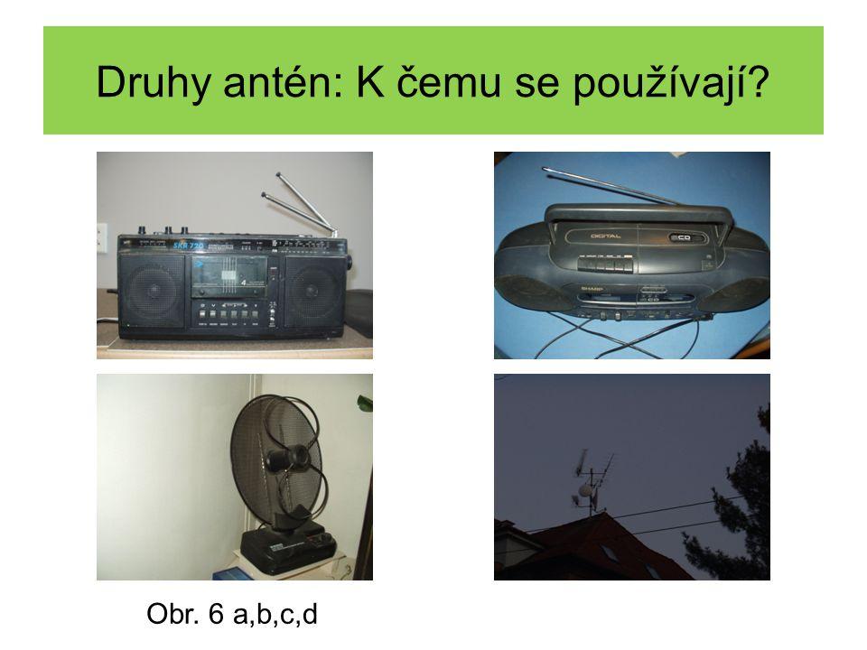 Druhy přijímacích a vysílacích antén: Obr. 7 a,b,c,d