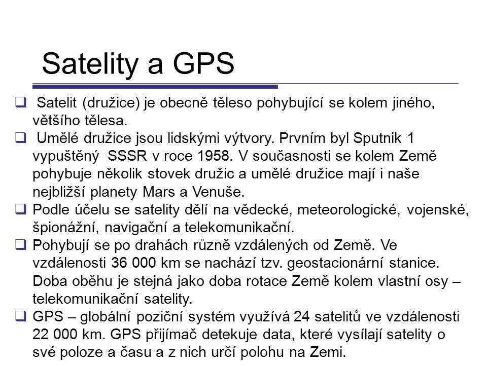 Satelity a GPS  Satelit (družice) je obecně těleso pohybující se kolem jiného, většího tělesa.  Umělé družice jsou lidskými výtvory. Prvním byl Sput
