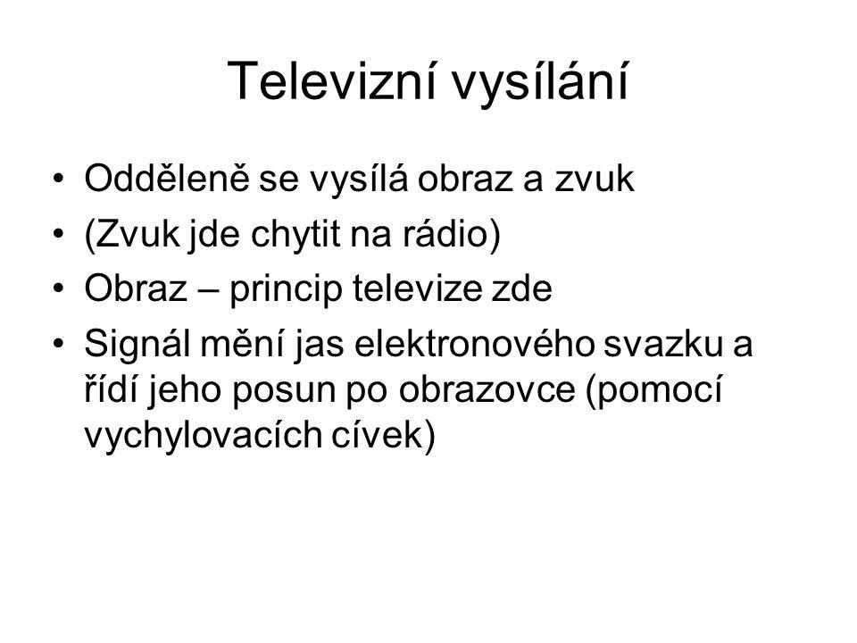 Televizní vysílání Odděleně se vysílá obraz a zvuk (Zvuk jde chytit na rádio) Obraz – princip televize zde Signál mění jas elektronového svazku a řídí