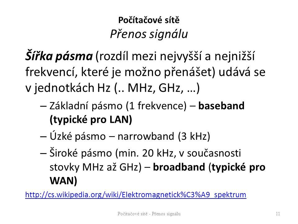 Šířka pásma (rozdíl mezi nejvyšší a nejnižší frekvencí, které je možno přenášet) udává se v jednotkách Hz (.. MHz, GHz, …) – Základní pásmo (1 frekven