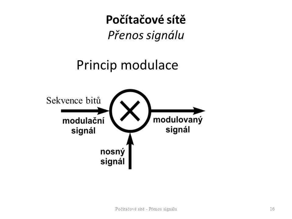 Počítačové sítě - Přenos signálu16 Princip modulace Počítačové sítě Přenos signálu Sekvence bitů