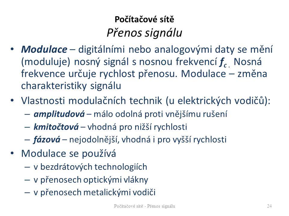 Modulace – digitálními nebo analogovými daty se mění (moduluje) nosný signál s nosnou frekvencí f c. Nosná frekvence určuje rychlost přenosu. Modulace