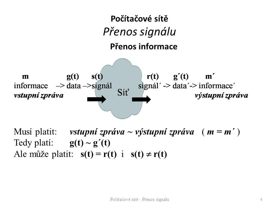 Přenos informace Počítačové sítě - Přenos signálu4 Musí platit:vstupní zpráva ~ výstupní zpráva ( m = m´ ) Tedy platí: g(t) ~ g´(t) Ale může platit: s