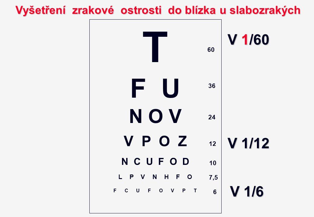 T F U N O V V P O Z N C U F O D L P V N H F O F C U F O V P T Vyšetření zrakové ostrosti do blízka u slabozrakých 60 36 24 12 10 7,5 6 V 1/60 V 1/6 V