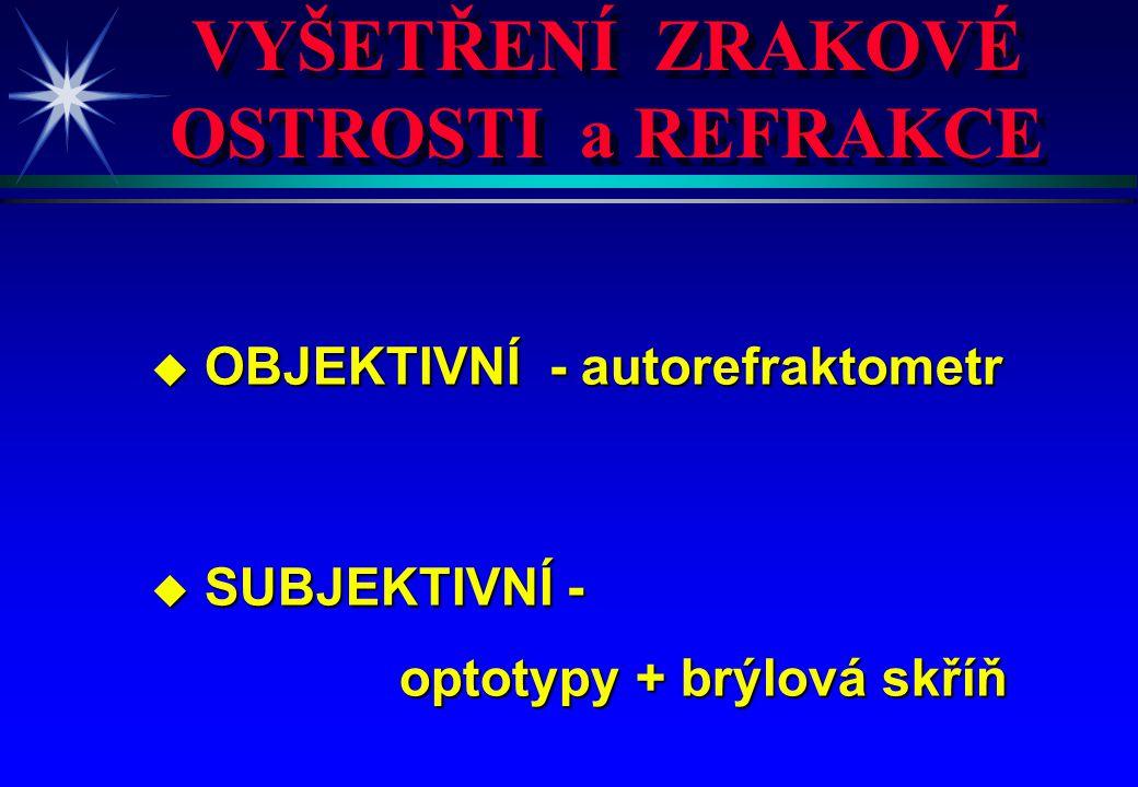 VYŠETŘENÍ ZRAKOVÉ OSTROSTI a REFRAKCE u OBJEKTIVNÍ - autorefraktometr u SUBJEKTIVNÍ - optotypy + brýlová skříň optotypy + brýlová skříň