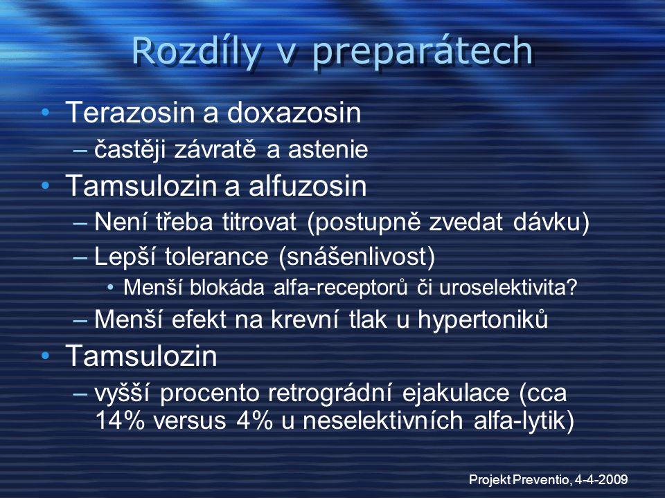 Projekt Preventio, 4-4-2009 Rozdíly v preparátech Terazosin a doxazosin –častěji závratě a astenie Tamsulozin a alfuzosin –Není třeba titrovat (postup
