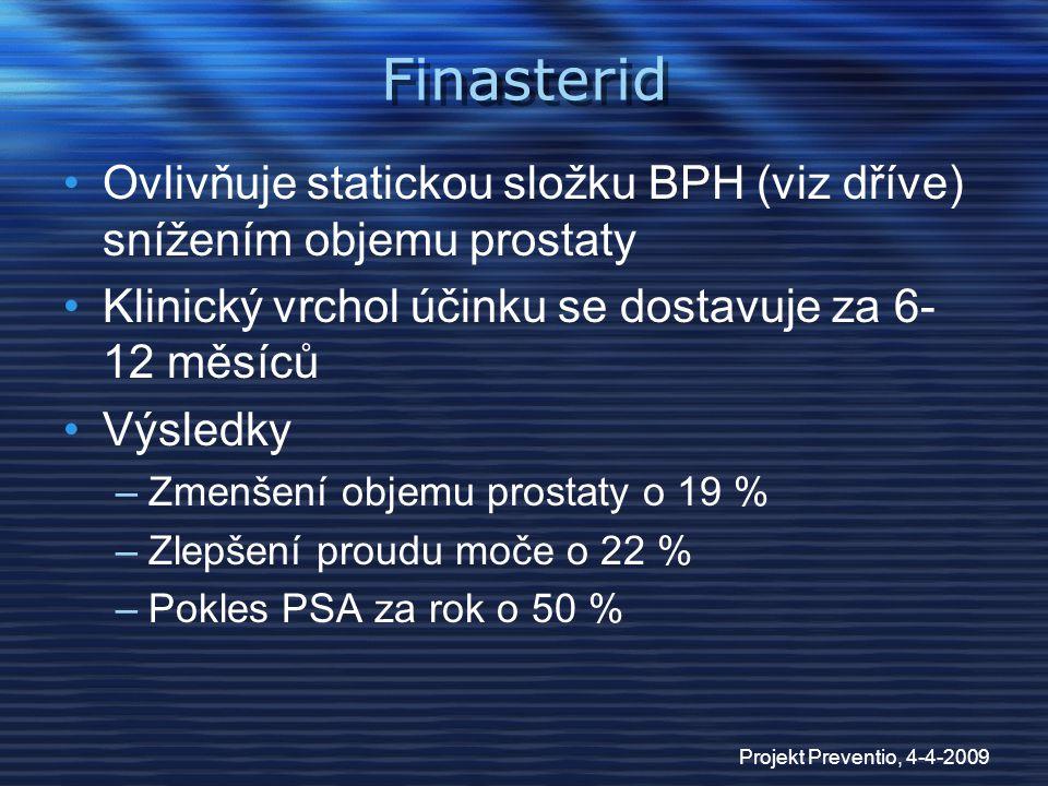 Projekt Preventio, 4-4-2009 Finasterid Ovlivňuje statickou složku BPH (viz dříve) snížením objemu prostaty Klinický vrchol účinku se dostavuje za 6- 1