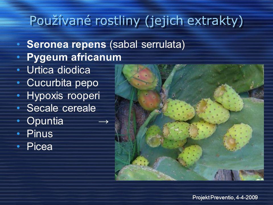 Projekt Preventio, 4-4-2009 Používané rostliny (jejich extrakty) Seronea repens (sabal serrulata) Pygeum africanum Urtica diodica Cucurbita pepo Hypox