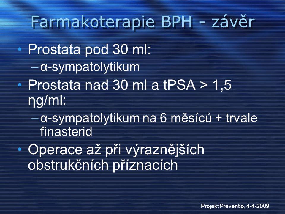 Projekt Preventio, 4-4-2009 Farmakoterapie BPH - závěr Prostata pod 30 ml: –α-sympatolytikum Prostata nad 30 ml a tPSA > 1,5 ηg/ml: –α-sympatolytikum