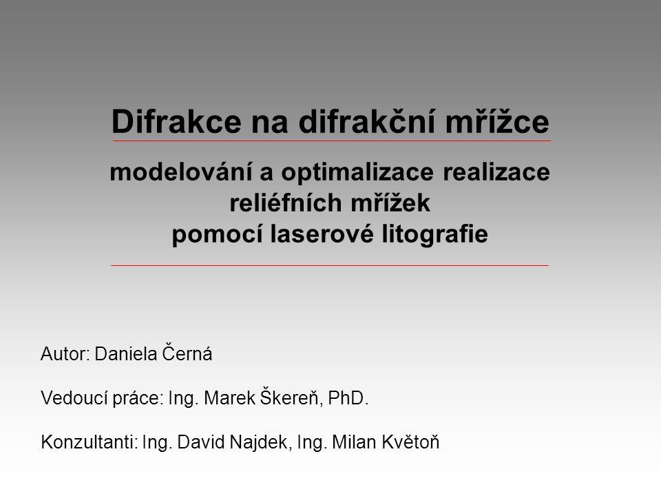 Modelování difrakce Dvojštěrbina Difrakční obrazec
