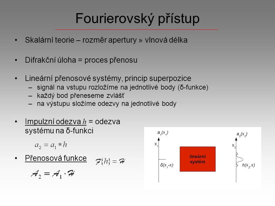 Fraunhoferova difrakce Oblast, v rámci které lze všechny příspěvky z apertury považovat za rovinné vlny V oblasti daleko od stínítka je difrakční pole úměrné Fourierově transformaci pole těsně za stínítkem Rozměry difrakčního obrazu rostou se vzdáleností od apertury